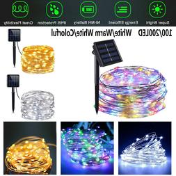 100-200 LED Solar Fairy String Light Copper Wire Outdoor Wat