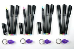 12 Invisible Ink Pens & 4 UV Lights Assorted UltraViolet Bla