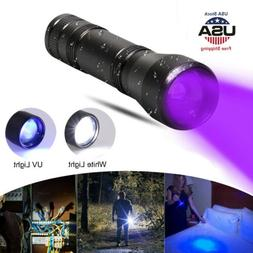 2 in 1 LED UV Flashlight 5 Mode Zoomable Torch White Focus L