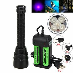 395nm 5x XPE UV LED Scuba Diving Flashlight Torch Light Lamp