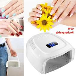 60W LCD Wireless Rechargeable Cordless UV Led Nail Gel Light