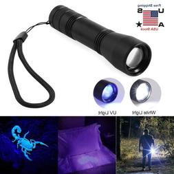80000Lm LED UV Flashlight UV Light Torch 5Mode Zoomable 365n