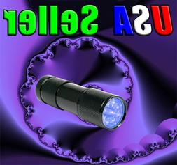 9 UV LED Ultra Violet Black Light 380-400nm F-509UV Flashlig