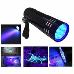 Mini 9 LED Aluminum UV Light Violet Flashlight Blacklight To