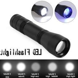 Battery Powered 395nm Ultra Violet/White LED UV Flashlight T
