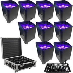 LED Battery Powered Wireless DMX - 16 Hour - 9 Lights w/Case