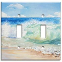 Art Plates Brand Double Toggle Switch / Wall Plate - Beach P