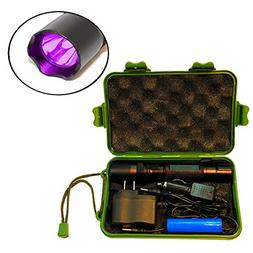 HQRP Complete KIT: Powerful 3W UV Flashlight 365nm with Char