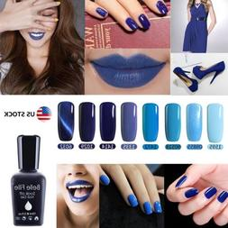 BELLE FILLE Dark/light Blue SERIES UV NAIL GEL POLISH TOP/BA
