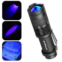 Handheld LED UV Flashlight UV Light Torch Zoomable 395nm Bla