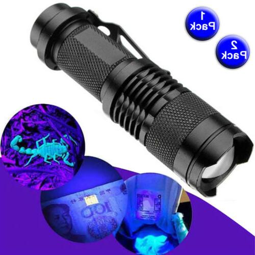 1~2pcs Powered Light Ultra Flashlight 365nm Adjustable Focus