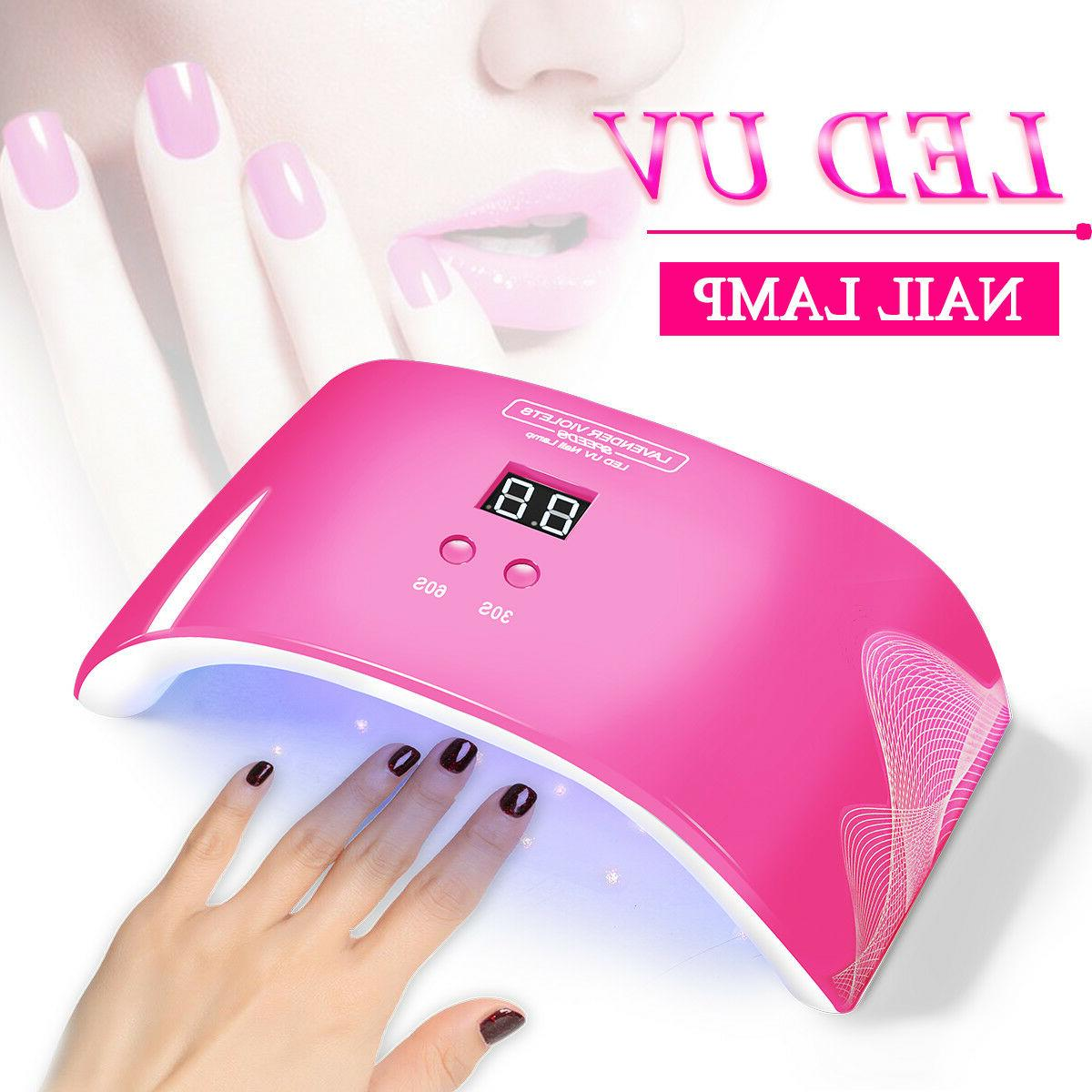 24W LED Nail UV Lamp Timer Sensor Salon