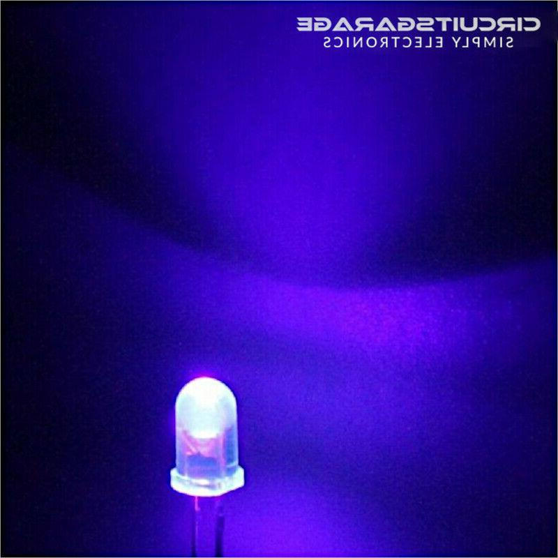50 X 5mm Ultra Bright Water Clear Ultraviolet UV LED Light Emitting Diode Bulb