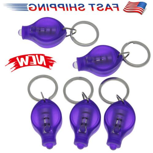 5x Purple Mini UV Keychain LED Light Lamp Key Ring Flash Fla