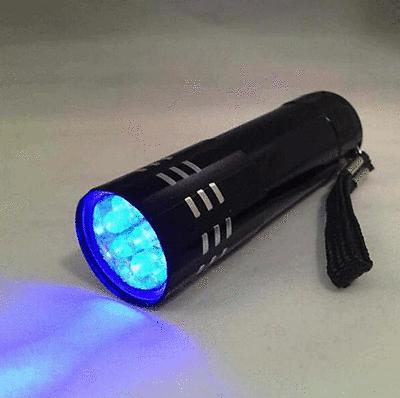 UV 9 LED Flashlight Blacklight Tactical Black