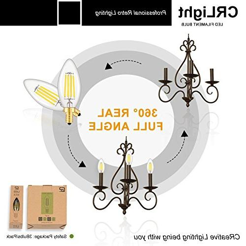 CRLight Bulb 4W Daylight White 500LM,50W Equivalent,Replace Compact E12 Dimmable Candle Bulbs, Torpedo Bullet Top,6