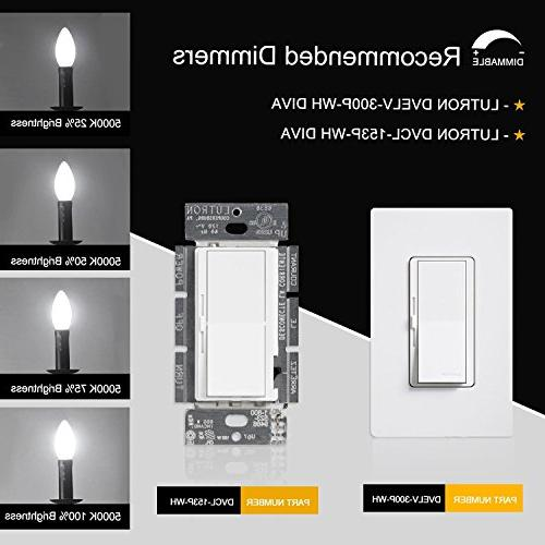 CRLight 5000K Bulb 500LM,50W Incandescent Equivalent,Replace 8W Compact E12 Dimmable Candle Bulbs, Torpedo Bullet Pack