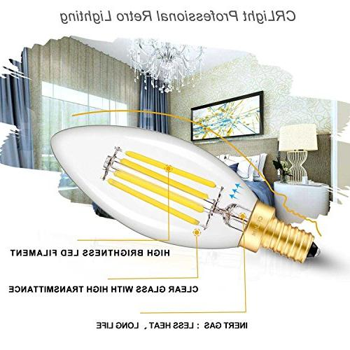 CRLight Bulb 4W 500LM,50W Compact E12 Dimmable LED Bulbs, C35 Torpedo Bullet Top,6 Pack