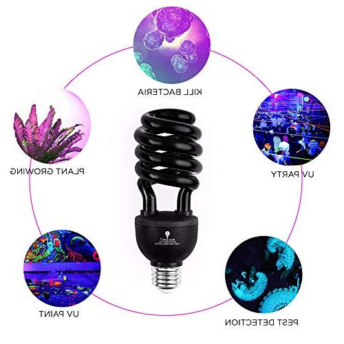 2 Pack CFL UV Bulb – E26 - Black Light Decorative Illumination - Indoor DJ, UV Glow Bulbs