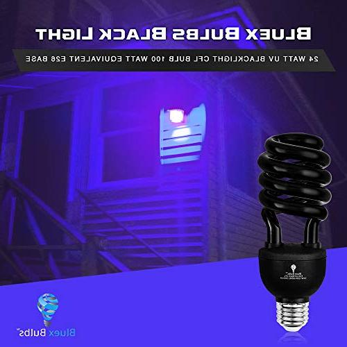 2 CFL UV Blacklight Bulb – 100-Watt Equivalent E26 Replacement Bulbs - Black Light Bulb Decorative Illumination - for Indoor DJ, Aquarium Glow