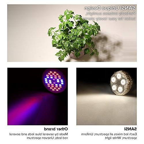 SANSI 30W Plant LED Lights for Indoor E26 Grow Vegetable Tobacco, UV&IR,