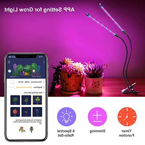 APP, 6 Red/Blue LED UV Growing with Timer, Gooseneck Auto Light Indoor