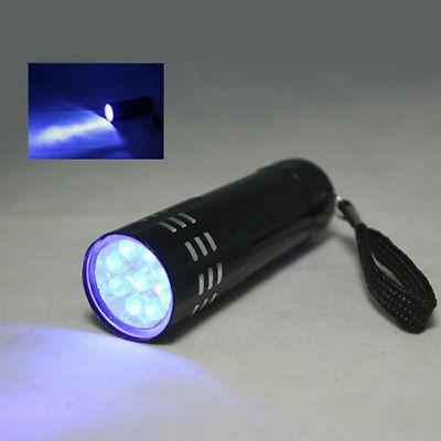 Mini Aluminum UV Violet 9 Blacklight Torch Lamp Black