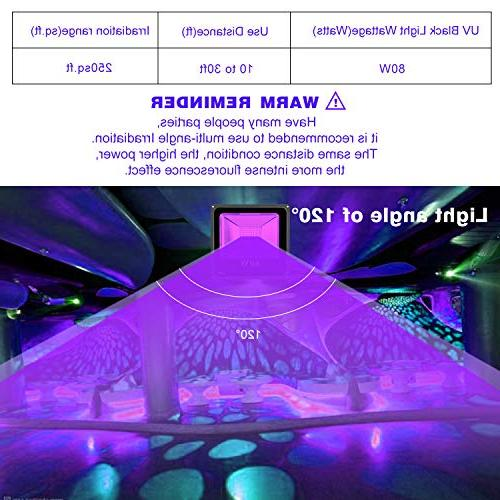 UV LIGHTIMETUNNEL 80W Flood IP66 with for Party, Stage Lighting, Glow in The Dark, Aquarium, Neon