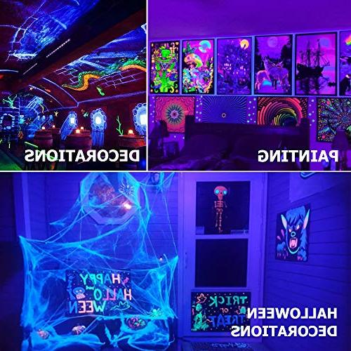 Onforu 3 24W UV Black Light Bar, Cord with US Plug Switch, Dark Supplies for Stage Lighting, Halloween, Paint, Fluorescent Poster, Wedding