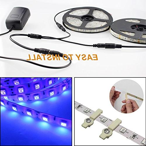 Onforu LED Black Light Strip 600 Beads, 12V Flexible Fixtures, LED Non-Waterproof Dance Party, Stage Lighting, Body