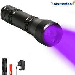 LED UV Flashlight Zoomable 395nm Ultraviolet detection Torch