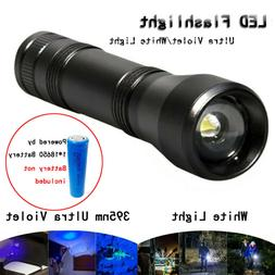 LED UV Torch Flashlight Ultra Violet/White Light 5 Mode 1865