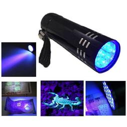 Mini Aluminum UV Light Violet Flashlight 9 LED Blacklight To