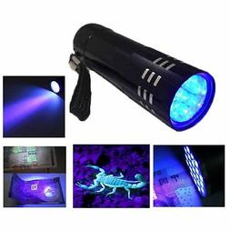 Mini Aluminum UV Light Flashlight 9 LED Torch Lights Black L