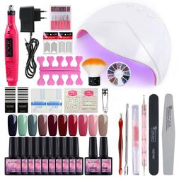 New Gel Color Nail Polish Base Top Kit Tool Electric Drill D