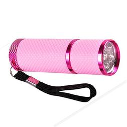 Pink : LIXF- 1pc Mini 9 LED Uv Gel Curing Lamp Without Batte