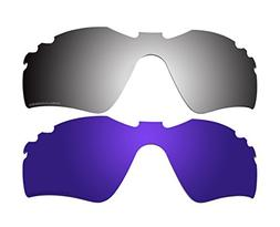 2 Pairs Polarized Replacement Lenses Purple & Black Mirror f