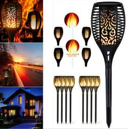 8pcs Solar Torch Light Flickering Lighting Dancing Flame Gar