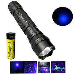 UV 365NM Ultraviolet Flashlight with 18650 Battery LED Handh
