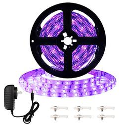 Onforu 16.4ft LED UV Black Light Strip Kit, 12V Flexible Bla