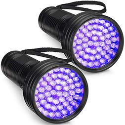 2-Pack UV Flashlight Black Light, FOLKSMATE 51 LED 390-395 n