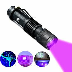UV Flashlight Light Blacklight Lamp AA Battery Powered for M