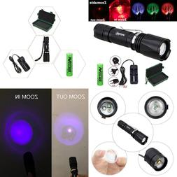 Zoomable GREEN /Red/ UV Hunting Flashlight Deer Blood Tracke