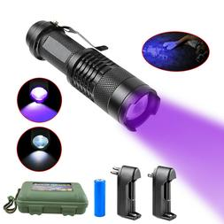 Zoomable LED UV Flashlight UV Light L2/T6 White Light LED To
